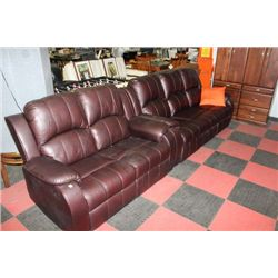 415-126-22BROWN LEATHER RECLINGING SOFA & LOVESEAT
