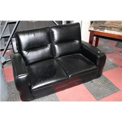 BLACK LEATHERETTE LOVESEAT NO LEGS, SOLD AS IS