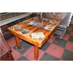 SOLID WOOD WILDLIFE RUSTIC TABLE
