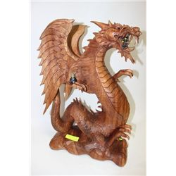 SOLID TEAK HAND CARVED ASIAN DRAGON