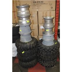 2 STACKS OF ASST. QUAD RIMS AND TIRES