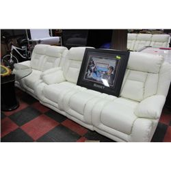 NEW WHITE LEATHER RECLINING SOFA AND LOVESEAT