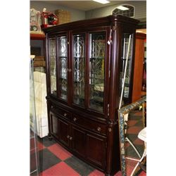 NEW WOOD ETCHED GLASS BUFFET AND HUTCH