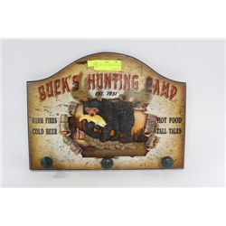 BUCK'S HUNTING CAMP COAT HOOK / SIGN