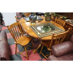 SOLID MAPLE TABLE W/ LEAF & 6 CHAIRS