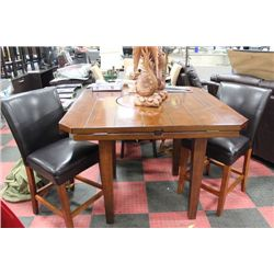 BAR TABLE WITH QUADRUPLE DROP LEAVES & 2 STOOLS