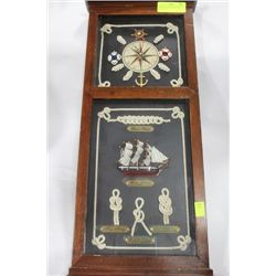 SAILER'S 3-D WALL PLAQUE W/ CLOCK, SHIP,