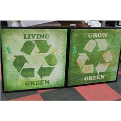 PAIR OF LIVE GREEN CANVAS PICTURES