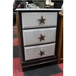 3 DRAWER 2 TONE STAR HANDLE NIGHTSTAND