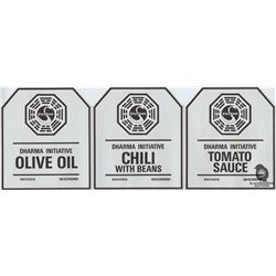 Set of 3 Original Production-Made Dharma Food Can Labels from LOST