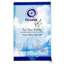 LOST Oceanic Airlines Safety Card Signed by Matthew Fox, Jorge Garcia & Evangeline Lilly