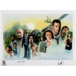 LOST Season 1 Cast Montage Print Signed by Evangeline Lilly, Carlton Cuse & Damon Lindelof