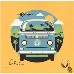"""LOST """"4 8 15 16 23 42"""" Dharma Van Print by DKNG Signed by Carlton Cuse & Damon Lindelof"""