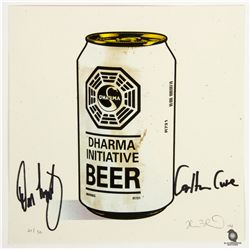 """LOST """"Dharma Beer"""" Limited Print by Joshua Budich Signed by Carlton Cuse & Damon Lindelof"""