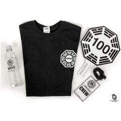 LOST Official ABC Auction Package - Auction Paddle, Crew Badge, Dharma Water Bottle & T-Shirt