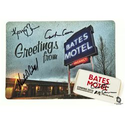 Bates Motel Postcard & Soap Signed by Nestor Carbonell, Carlton Cuse & Kerry Ehrin