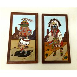 "Pair of Southwest ""Fiesta"" Framed Tiles"