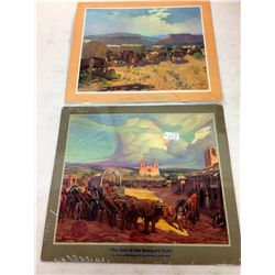 Pair of Santa Fe Railroad Calendar Prints