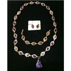 Amethyst Necklace Bracelet Earring Set