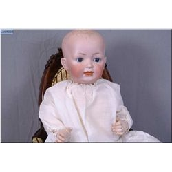 """24"""" German Hertel and Schwab bisque head baby doll marked 14, with fixed glass eyes, on composition"""