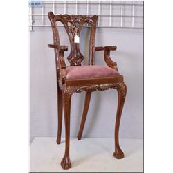 """Carved dark wood doll's high chair with upholstered seat 34"""" in height"""