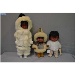 """Two 12"""" vintage Regal Kimmie dolls including one in rabbit skin costume and a 20"""" Inuit style doll w"""