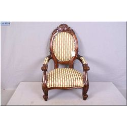 """Doll sized balloon back chair with carved back and legs and upholstered seat, arms and back 23"""" in h"""