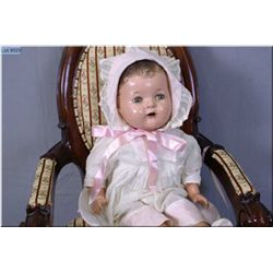 """17"""" Reliable doll with composition head, sleep eyes and open mouth, composition legs and arms on clo"""
