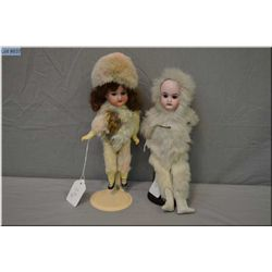 """Antique 8"""" Armand Marseille bisque head doll on composition body with glass eyes and mohair wig and"""