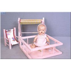 """11"""" baby Wettums painted eye composition doll, with playpen, change table and high chair. Auction es"""