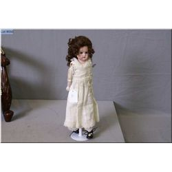 """15"""" Cuno & Otto DEP 1896 bisque head doll, no cracks or hairlines, glass eyes, mohair wig on a kid l"""