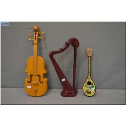 Three doll sized instruments including musical lute plus harp and violin, perfect for doll display