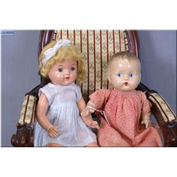 """15"""" Reliable composition doll with sparse mohair wig, tin sleep eyes, note some paint loss to finger"""