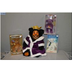 """Robert Raikes hand carved limited edition bear """"King William"""" and three new in package Gund bears"""