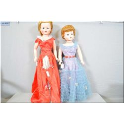 """Two vintage fashion dolls including 28"""" Deluxe Reading magic skin doll with original dress, under sl"""