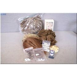 Selection of doll wigs including mohair plus four sets of replacement eyes etc.