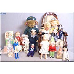 Selection of vintage collectible dolls including Harrods door stop, celluloid dolls, Josie West, har