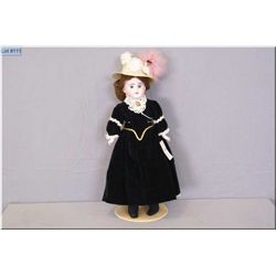 """18""""-19"""" Ernest Heubach bisque shoulder head doll on kid leather body with porcelain arms and mohair"""