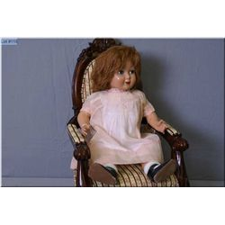 """21"""" Composition doll with mohair wig, sleep eyes and vintage organdy dress"""