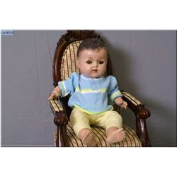 """20"""" Reliable composition baby doll with sleep eyes, note missing lens on left eye"""