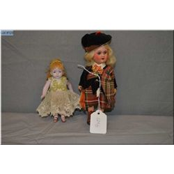 "7"" Armand Marseille 390 painted bisque doll on composition body in original Scottish attire, set blu"