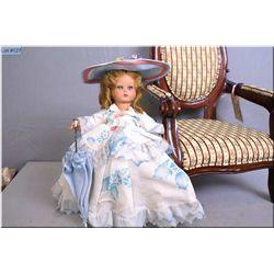 "Vintage 14"" Italian hard plastic doll made by Furga with sleep eyes, original costume with parasol."