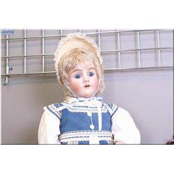 "33"" Heinrich Handwerck/Simon Halbig bisque head doll marked -7- with blue sleep eyes, mohair wig on"