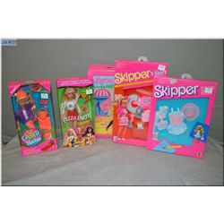 Selection of Barbies including Barbie vinyl case, Pizza Party Skipper and Camp Barbie Skipper doll a