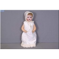 """Antique 19"""" bisque head baby doll by Morimura incised #22, with dimples, open mouth, sleep eyes, ori"""