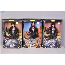 Three boxed Collector's Edition Harley Davidson Motor cycle Barbie dolls made by Mattel