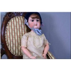 """21"""" Majestic German bisque head doll with sleep eyes, open mouth on composition body, note some repa"""