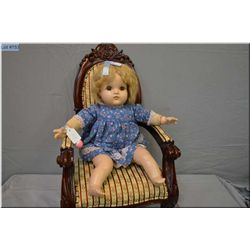 """19"""" Reliable composition baby doll in excellent condition, sleep eyes and mohair wig on stuffed body"""