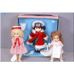 """Vintage boxed 8"""" Ginny by vogue doll in original Christmas outfit with stand, muff, hairbrush and co"""