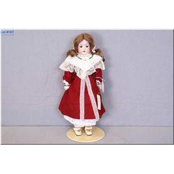 "18"" Antique bisque shoulder head doll by Heubach Kopplesdorf on kid leather body, human hair wig, sl"
